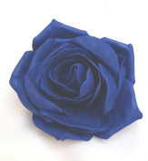 Navy Blue Open Rose Artificial Hair Flower Clip Buttonhole Corsage by Fabulous Fascinators
