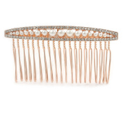 Bridal/ Wedding/ Prom/ Party Rose Gold Tone Clear Austrian Crystal Pealr Side Hair Comb - 80mm