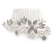 Bridal/ Wedding/ Prom/ Party Rhodium Plated Clear Austrian Crystal Glass Pearl Floral Side Hair Comb - 90mm