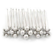 Bridal/ Prom/ Wedding/ Party Rhodium Plated White Glass Pearl, Clear Austrian Crystal Floral Side Hair Comb - 60mm Width