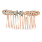 Bridal/ Wedding/ Prom/ Party Rose Gold Tone Clear Austrian Crystal Bow Side Hair Comb - 80mm