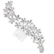 Clearine Women's Bohemian Crystal Cluster Vine Flower Romantic Wedding Bridal Bling Hair Comb
