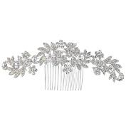 Clearine Women's Bohemian Boho Crystal Cluster Flower Vine Leaf Wedding Bride Bling Hair Comb Clear