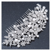 Statement Bridal/ Wedding/ Prom/ Party Rhodium Plated Clear Austrian Crystal, Glass Pearl Floral Side Hair Comb - 12cm Width