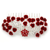 Red Crystal 'Rose' Side Hair Comb In Silver Tone - 95mm W