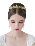 SWEETV Sparkly Crystal Crown Princess Tiara Rhinestone Leaf Pageant Wedding Hair Jewellery, Gold