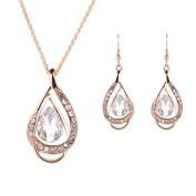 IzuBizu London White Crystal Pendant and Earrings 18 CT Gold Plated Tear Drop Jewellery Set - Free Gift Box