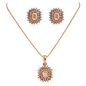IzuBizu London Diamond Cubic Pendant and Earrings 18 CT Gold Plated Square Shape Crystal Jewellery Set - Free Gift Box