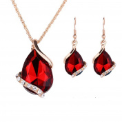 IzuBizu London Red Crystal 18CT Gold Plated Tear Drop Shape Necklace and Earrings - Free Gift Box