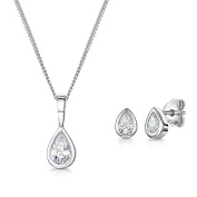 Jools by Jenny Brown®Silver Pendant And Earring Set Featuring a 1/4 Carat Cubic Zirconia Teardrop Stone And Matching Earrings