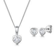 Jools by Jenny Brown®Silver Pendant And Earring Set Featuring a 3/4 Carat Cubic Zirconia Heart Shaped Stone And Matching Earrings