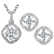 Dawanza - Gold Plated Crystal Jewellery Set for Woman - White Flower - Fashionable Necklace and Earrings