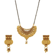 Bollywood Texture Antique Goldplated Ginni Mangalsurta Tanmaniya Set with Earrings For Women