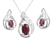 925 Sterling Silver Real Ruby and Diamond Oval Gift Set - June Birthstone - 40th Weddding Aniversary