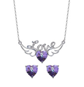 """Frola""""Love Angel""""Pendant Necklace Earring Jewellery Set Made with Elements Crystal"""