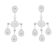 Quality Silver Tone and Crystal Three Pear Drop Wedding Bridal Earrings
