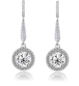 Sterling Silver 925 AAA CZ Double Post Long Round Drop Bridal Wedding Earrings