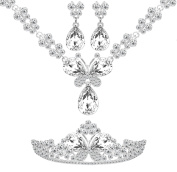 Sparkling Butterfly Shaped Crystal Necklace, Earrings and Tiara Bridal Set