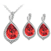 "Eloquence - ""RGE"" - Crystal Red White Necklace and Earrings for Women"