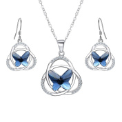 EVER FAITH® 925 Sterling Silver CZ Celtic Knot Butterfly Pendant Necklace Earrings Set Navy Blue Adorned with Crystals from ®