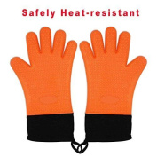 Zhiyi Grilling Gloves, Heat Resistant Gloves Bbq Kitchen Silicone Oven Mitts,