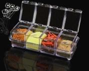 Crystal Seasoning Acrylic Spice Container Dispenser Jar Cruet Kitchen Salt Box