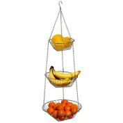 3 Tier Chrome Hanging Fruit Vegetable Basket Holder Food Storage Caddy Stand