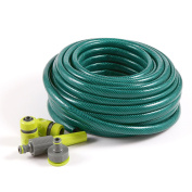 1.3cm 15m Reinforced Garden Hose Pipe Spray Watering Nozzle Fittings Set Included