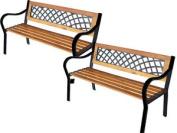 2x 3 Seater Wooden Outdoor Garden Wood W Lattice Back Seat Bench Furniture Park