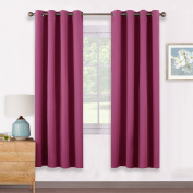 Eyelet Thermal Blackout Curtains Panels - PONYDANCE Premium Thermal Insulated Blackout Curtains Window Treatment Short Drapes for Living Room, Set of 2 Pieces, W 140cm by L 170cm , Rose