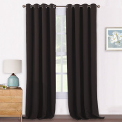 Eyelet Blackout Curtains Thermal Insulated - PONYDANCE Readymade Home Fashion Room Darkening Window Treatment Blackout Curtains Draperies Blinds for Balcony, 2 Pieces, W 140cm x L 240cm , Brown