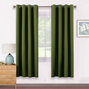 Thermal Eyelet Blackout Window Curtains - PONYDANCE Windows Treatment Functional Blackout Curtains for Bedroom / Home Fashion & Decoration, 2 Panels, 140cm Wide x 170cm Long, Olive Green