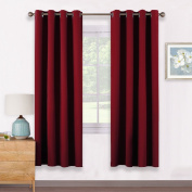 Thermal Insulated Eyelet Blackout Curtains - PONYDANCE Window Treatment Curtains Draperies Panels for Kid's Room Home Fashion Decoration, 1 Pair, 140cm Wide by 170cm Drop, Red
