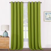 Thermal Eyelet Blackout Window Curtains - PONYDANCE Soft Polyester Thermal Insulated Window Treatment Blackout Curtain / Drape for Patio Room Darkening & Energy Saving, 2 Pcs, 140cm Wide x 240cm Long, Fresh Green