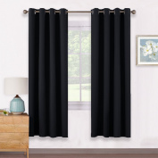 Thermal Eyelet Blackout Window Curtains - PONYDANCE Room Darkening Blackout Curtains Panels Windows Treatment Thermal Insulated Drapes for Living Room, 2 Pcs, W 140cm x L 170cm per Panel, Black