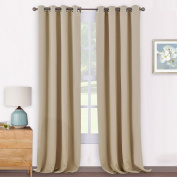 Windows Treatment Eyelet Blackout Curtains - PONYDANCE Premium Thermal Blackout Curtains for Bay Window / Windows Draperies Black Light Out & Energy Saving, One Pair, Wide 140cm by Drop 240cm , Cream Beige