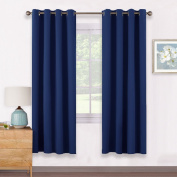 Windows Treatment Eyelet Blackout Curtains - PONYDANCE Thermal Insulated Top Chrome Ring Blackout Curtains for Bedroom / Room Darkening & Energy Saving, Set of 2, Width 140cm x Depth 170cm , Navy Blue