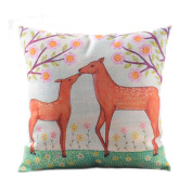 SESO UK- American Rural Pastoral Pillow Cotton And Linen Bedside Sofa Cushion (18 * 18 Inches, 45 * 45 Cm)