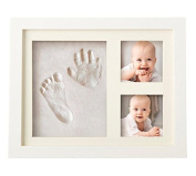 Emwel Baby Hand Print Kit Newborn Picture Frame Baby Shower Gifts Keepsakes Frames for Registry Memorable Keepsakes Decorations , Wood Frames with Safe Clay