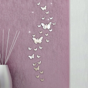 Wall Stickers,Ulanda-EU 30PC Butterfly Combination 3D Mirror Wall Stickers Home Decoration DIY