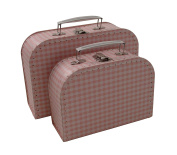 kidSTYLE Gingham Mini Suitcases, Pink/White, Set of 2