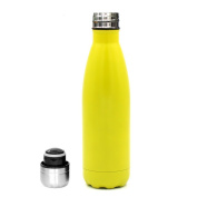 Littlelucifa 500ml Double Wall Vacuum Cool Insulation Stainless Steel Water Bottle Leak- proof and No Sweating Perfect for Summer Outdoor Sports Camping Hiking Cycling - Yellow