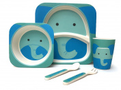Children's 5 Piece Bamboo Dinner Set - 100% Bamboo Fibre, Eco-Friendly, Dishwasher Safe