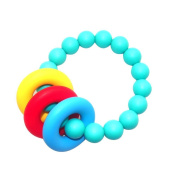 Teether Bracelet - Hand Bell Infant Rattles Toy ,Soft and Chewable Ring For Baby To Teething Pain Relief