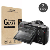 (Pack of 3) Tempered Screen Protector For Sony DSLR Alpha A6000 A6300 A5000 NEX-3 NEX-5 NEX-6 NEX-7 Camera, Akwox [0.3mm 2.5D High Definition 9H] Optical LCD Premium Glass Protective Cover Film