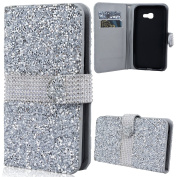 SmartLegend Samsung A7 2017 Wallet Case, Rhinestone Bling Glitter Leather Purch Case for Samsung Galaxy A7 2017 SM-A720, Solid Colour Shiny Sparkle Soft Back Case for Galaxy A7 2017, Folio Book Elegant Style PU Flip Case Protection with [Kickstand] Sta ..