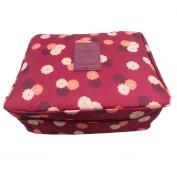 JJOnlineStore - Multi-Purpose Unisex Portable Bag Waterproof Wash Bag Multiple Compartments Cosmetic Bag Summer Holiday Travel Pattern Toiletries Bags (Wine Red Flower