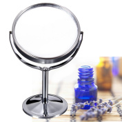 New Double Sided Chrome Round Magnifying Cosmetic Shaving Bathroom Swivel Mirror