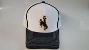 New Wyoming Cowboys White & Black Hook and loop Mesh Hat