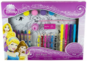 New Disney Princess Childrens Carry Art Pack Colouring Paint Crayons Pencils